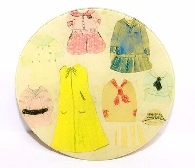 """John Derian Decoupage 8"""" Round Glass Plate """"Black Tie Paper Clothes"""" SIGNED"""
