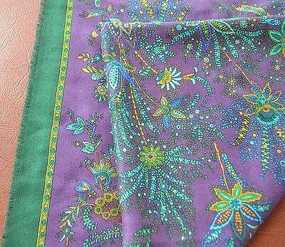 Huge 100% wool Kashmir scarf green & violet with floral design Made in Germany