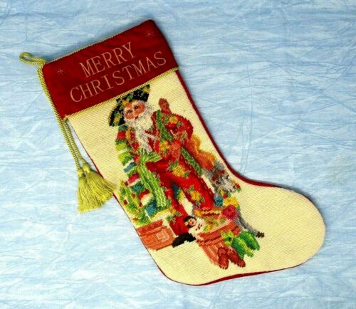 Christmas Stocking Cross Stitch Mexican Santa Claus Red Velvet 17in needlepoint
