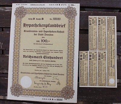 27990 Hypotheken Pfandbrief Stadt Dresden 100 Reichsmark 1927 Anleihe Wertpapier