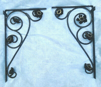 canopy supports decorative iron work scrolls and flowers 610mmx350mmx80mm