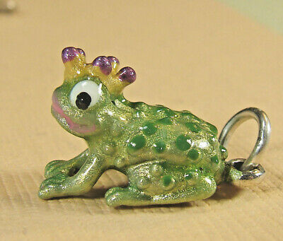 - Sterling Silver enamel Frog Prince Charming Charm *Lucky