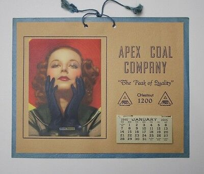 Original 1945 WWII Era Pinup Advertising Calendar - Apex Coal Company
