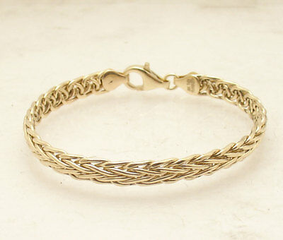 """7.25"""" Domed Spiga Wheat Link Bracelet With Lobster Clasp Real 18K Yellow Gold"""