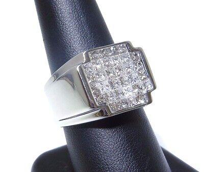 Mens 14k White Gold Princess Cut Invisible Setting 3.00ct Diamond Ring  Diamond Invisible Mens Ring