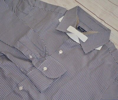 FINAMORE 1925 Napoli Houndstooth Brown Blue 100% Cotton Mens Dress Shirt 16 1/2