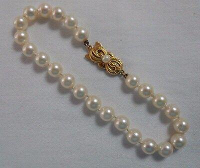 18k Yellow Gold MIKIMOTO 6MM AKOYA PEARL BRACELET 7.5 In 24 Pearls #16177