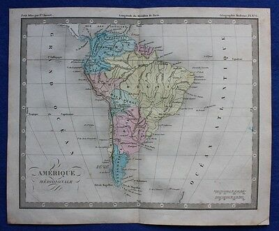 Original antique map SOUTH AMERICA, AMERIQUE MERIDIONALE, Felix Ansart, c.1855