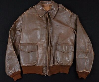 Original WWII A-2 Leather Flight Jacket Vintage