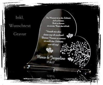 """1 Aufsteller Herz """"Baum Herz"""" inkl. Wunschtextgravur Hochzeit Liebe Valentinstag"""