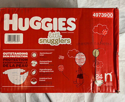 Huggies Little Snugglers Baby Diapers, Size Newborn, 84 Count. Up to 10 lbs