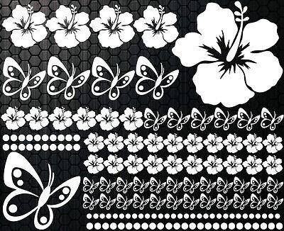 108 PIEZAS PEGATINAS DE COCHES Flores del Hibisco mariposas 32 HAWAII