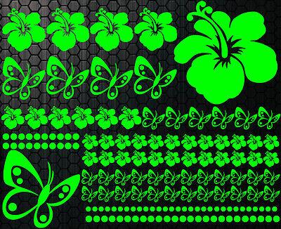 122 piezas Pegatinas De Coches Flores Del Hibisco Mariposas HAWAII WANDTATTOO