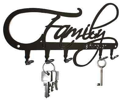 Family is Forever - KEY HOOK Wall Key Holder Hanger - Steel hooks design black