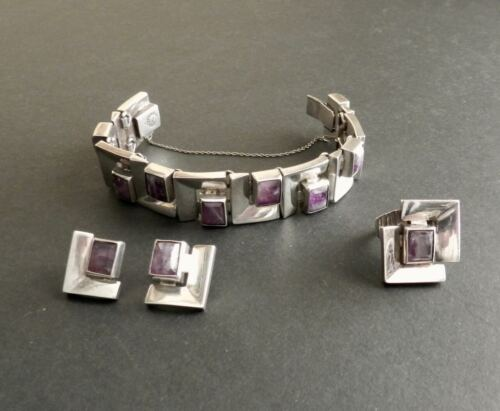 Vtg Antonio Pineda Design Heavy Sterling Silver Amethyst Bracelet Earrings Ring