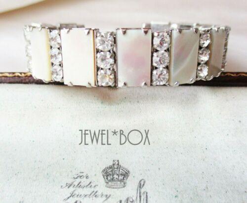 VINTAGE 1950s Mother of Pearl Lucite Diamond Rhinestone Crystal BRACELET Bridal