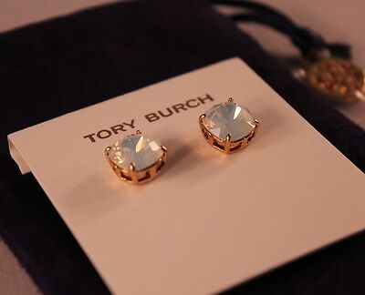 NWT Authentic TORY BURCH Crystal Stud Earrings in White Opal/Tory Gold $65
