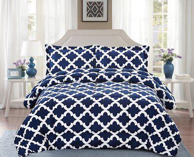 Navy Blue Comforter - Navy Blue Ultra Soft Microfiber Comforter w/ Pillow Shams Goose Down Alternative