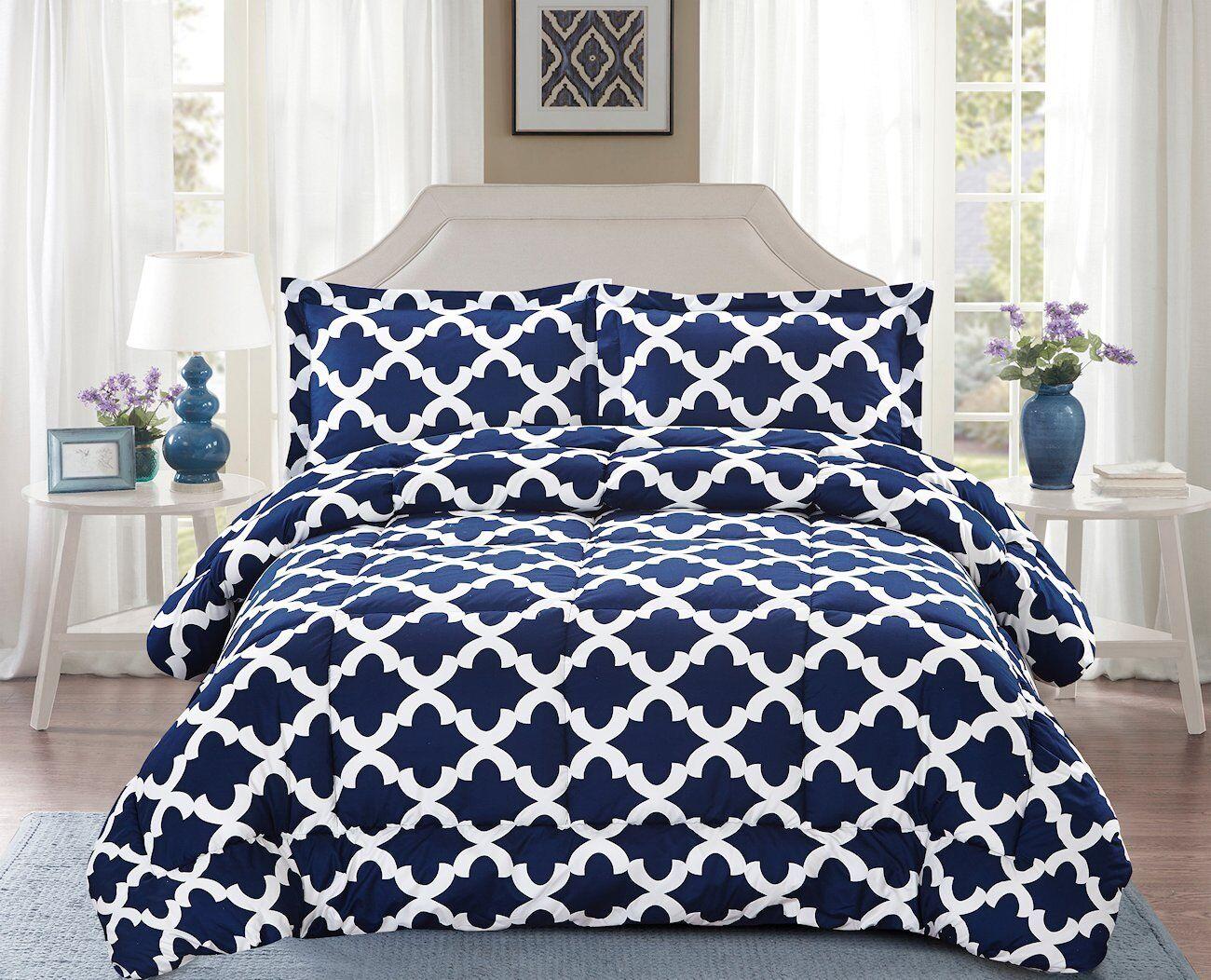 Navy Blue Ultra Soft Microfiber Comforter w/ Pillow Shams Go