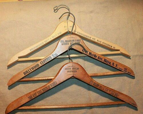 THREE VINTAGE WOOD CLOTHES HANGERS BROOKLYN BUSHWICK
