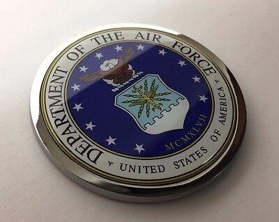 US AIR FORCE 3D Domed Emblem Badge Car Sticker METAL Chrome Bezel ROUND 3 3/8