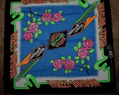 Official Vintage Harley Davidson Bandana Kerchief Pink Roses USA Womens scarf
