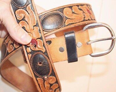 Vintage Genuine Leather Looper Hand Tooled Painted Belt 33 - 38 Flower Leaves