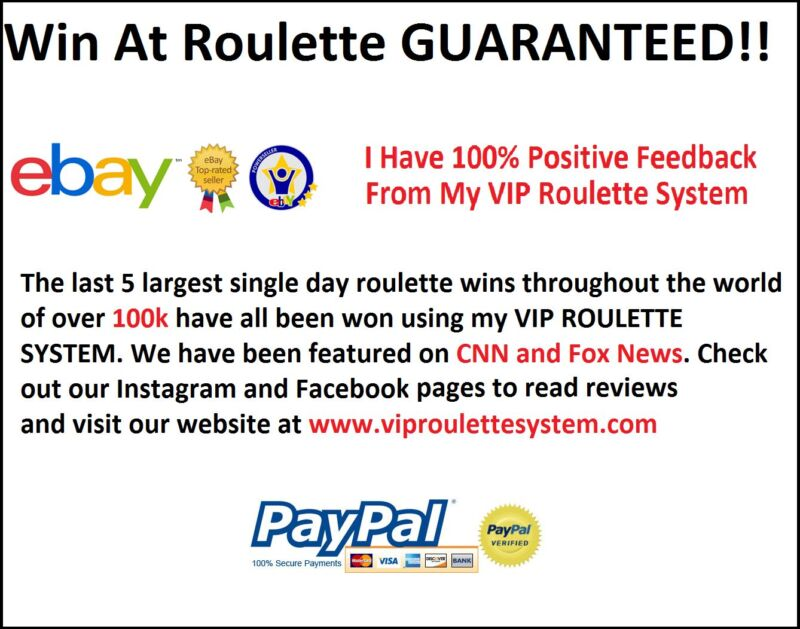 VIP Roulette System. Best Roulette Strategy on Ebay! Guaranteed Results