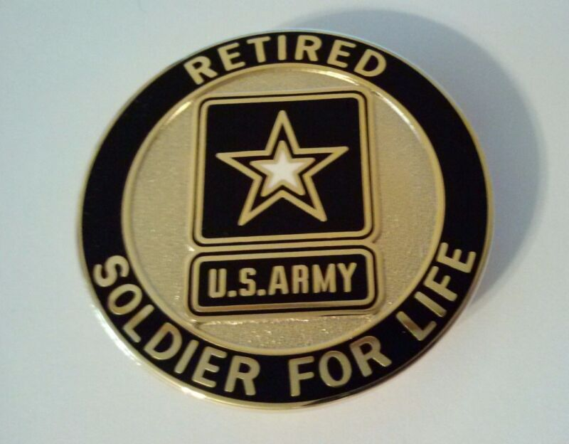 """Retired Army Soldier for Life Badge 2""""   Regulation( For Retire"""