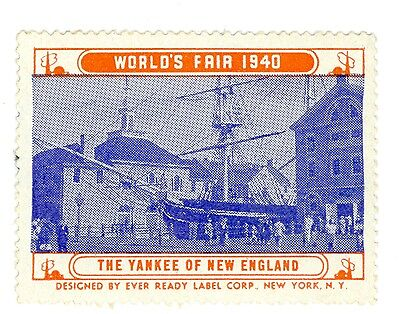 Unused 1940 New York World's Fair NYWF, The Yankee of New England Decal