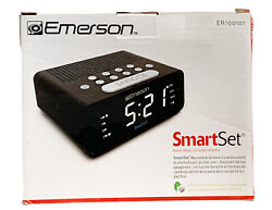 Emerson Smart Set Dual Alarm Clock AM FM Radio Black All Time Zones  50 States X