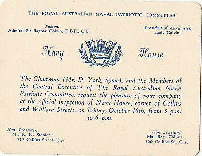 WW2 Royal Australian Naval Patriotic Committee inspection of Navy House invite