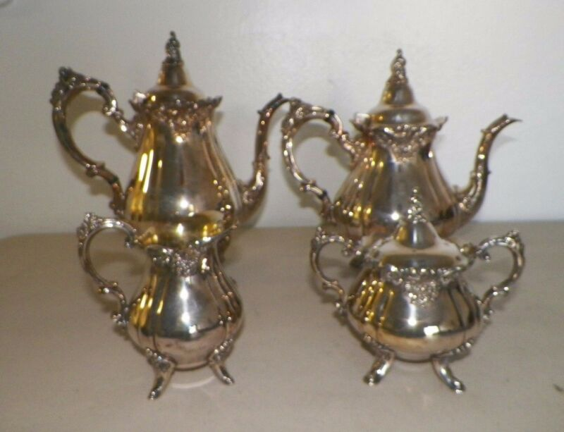 WALLACE BAROQUE SILVER PLATE TEA SET COFFEE & TEA POT CREAM & SUGAR