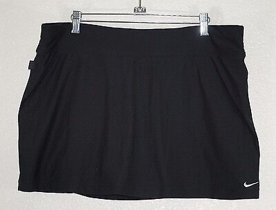 Nike Women's Black Dri Fit Running Tennis Active Built-In Shorts Skirt Size XL