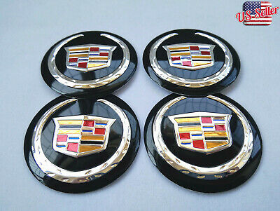 "4x 56mm 2.2"" Auto Car Wheel Center Cap Emblem Decal Sticker for Cadillac Black"