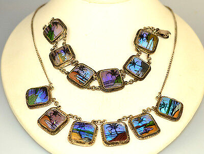 VINTAGE BUTTERFLY WING TROPICAL SCENES NECKLACE BRACELET SET DEMI PARURE BRAZIL