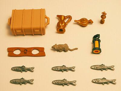A Playmobil Oeste Lote 15 Accesorios Oro Pescado Rata mina maleta tesoro...