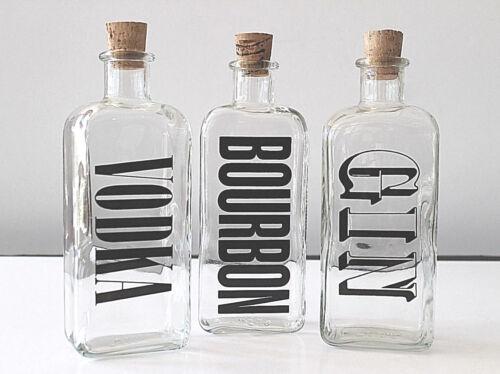 Mid Century Barware Mod Typography 3 Liquor Decanters Bourbon Vodka Gin BOLD