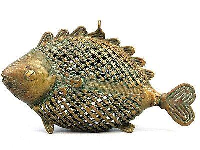 Art African - Pendant Fish Akan - Jewelry Bronze Filigree - 16 CMS