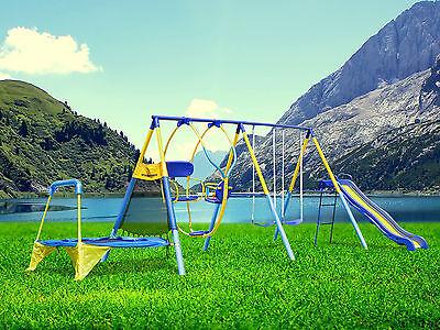 Backyard Swing Set Playground Outdoor Metal Toddler Swingset Kids Play Slide Fun