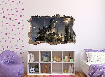 HARRY POTTER HOGWARTS CASTLE BEDROOM 3D SMASHED HOLE IN WALL DECAL - Castle Wall Decals