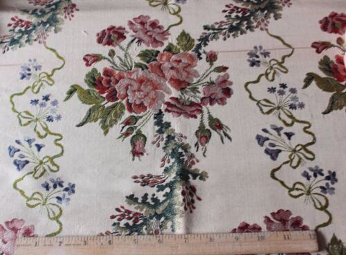 French Antique 18thC Home Dec Lyon Silk Brocade Original Sample Fabric~Roses
