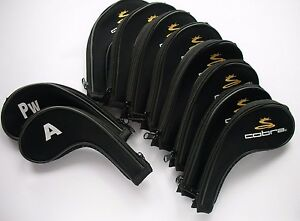 New Set of 10 x Cobra Iron Covers Golf Club Head Covers 3,4,5,6,7,8,9,A,PW,SW