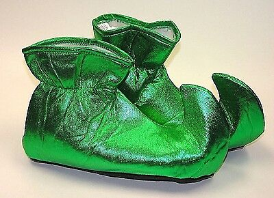 METALLIC GREEN ELF SHOES Cloth Boot Slippers Covers Feet Jester Clown Christmas - Metallic Boot Covers