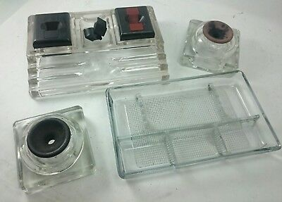 GLASS INKWELL LOT Vintage Desktop Fountain Ink Pen Decor Tabletop Display Set ()