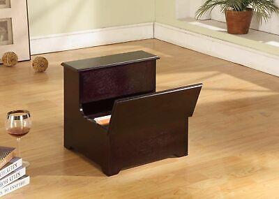 Kings Brand Furniture - Nikola Cherry Wood Bedroom Bed Step Stool w/ -