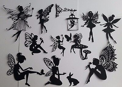 A mixed fairy pack cut  black card  die-cuts scrapbooking  toppers fairy jars