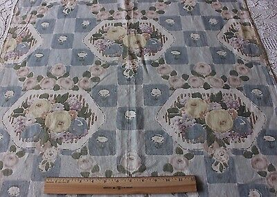 Rare Antique French c1922-1926 Art Deco Roses Linen Printed Fabric Textile