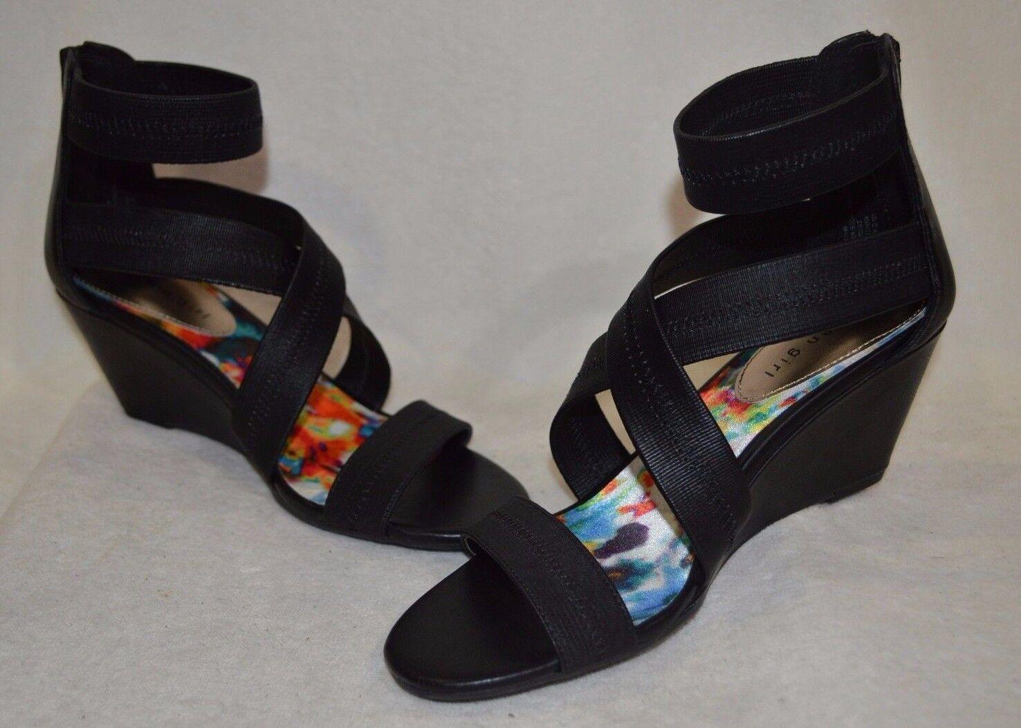Madden Girl Women' Heartt Black Strappy Wedge Sandals - Size