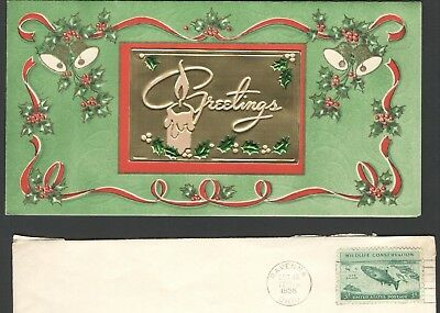 Vintage 1956 Christmas Card Holly Ribbon Bells Christmas Seals 3 Cent Fish Stamp